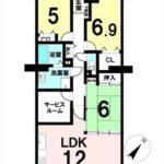 トーカンマンション山根町センターウィング 専有面積83.80㎡。3SLDKの間取りです。(間取)