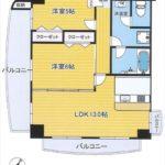 ライオンズマンション柳橋公園 専有面積57.06㎡。2LDKの間取りです。(間取)