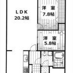 長寿園マンション 専有面積67.20㎡。2LDKの間取りです。