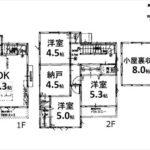 東区矢賀3丁目新築 建物面積93.35㎡。3LDK+納戸+小屋裏収納の間取りです。