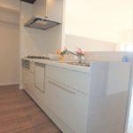 長寿園マンション 新設:スッキリデザインの機能的なシステムキッチン