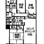 センチュリーパーク千田町中央棟 専有面積80.66㎡。3LDKの間取りです。
