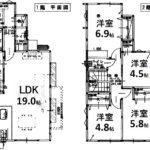東区温品7丁目新築 建物面積97.70㎡。4LDK+2WICの間取りです。