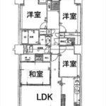 トーカンマンション山根町センターウィング 専有面積95.99㎡。3SLDKの間取りです。(間取)