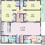南区仁保2丁目新築 建物面積97.30㎡。4LDKの間取りです。