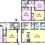 東区温品4丁目新築 建物面積107.73㎡。2LDK+2納戸の間取りです。