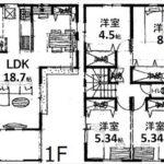 東区牛田中2丁目新築 建物面積107.08㎡。4LDKの間取りです。