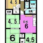 ファミール広島A棟 専有面積64.64㎡。4DKの間取りです。