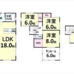 呉市焼山宮ヶ迫1丁目新築 建物面積108.47㎡。4LDK+小屋裏収納の間取りです。