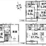 中区吉島新町1丁目新築 建物面積103.50㎡。3LDK+納戸の間取りです。(間取)