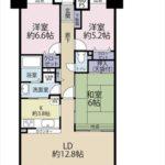 トーカンマンション山根町センターウィング 専有面積77.83㎡。3LDKの間取りです。