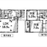 東区戸坂新町2丁目新築 建物面積104.46㎡。4LDKの間取りです。