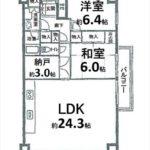 常磐CO-OPマンション 専有面積84.64㎡。2LDK+納戸の間取です。