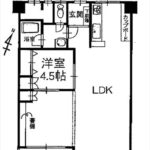 長寿園マンション 専有面積67.20㎡。1LDKの間取りです。
