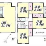 南区向洋大原町新築 建物面積116.33㎡。4LDK+小屋裏収納+サンルームの間取りです。