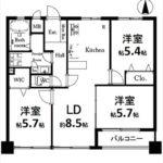 長寿園マンション 専有面積69.40㎡。3LDK+WICの間取りです。