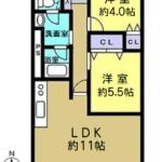 オアシスマンションプレジデント光ヶ丘 専有面積55.32㎡。2LDKの間取りです☆(間取)