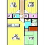 サンシティ安東駅前 専有面積64.50㎡。3LDKの間取りです。