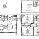 東区温品4丁目新築 建物面積111.08㎡。3LDK+納戸の間取りです。