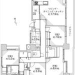 国泰寺パークホームズ 専有面積115.55㎡。4LDK+ワークスペースの間取りです。