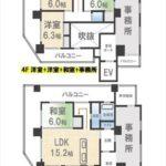 エスパスリバーサイド堺町 専有面積90.40㎡。4LDK+事務所の間取りです。