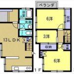 東区尾長東1丁目中古 建物面積68.04㎡。3LDKの間取りです。(間取)