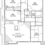 新井口パークホームズ 専有面積88.76㎡。4LDK+WICの間取りです。