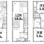 東区愛宕町新築 建物面積98.10㎡。2LDK+納戸の間取りです(間取)