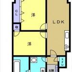 ピアザ昭和 専有面積53.40㎡。2LDKの間取です。