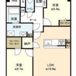 長寿園マンション 専有面積67.20㎡。2LDK+WICの間取りです。