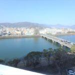 長寿園マンション 開放廊下からの眺望