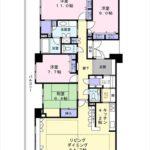 広島ガーデンガーデンサウスタワー 専有面積150.71㎡。4LDKの間取りです。(間取)