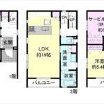 東区矢賀新町2丁目新築 建物面積120.88㎡。3LDK+納戸+WICの間取りです。
