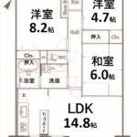 トーカンマンション山根町サウスウィング 専有面積70.40㎡。3LDKの間取りです。