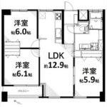 長寿園マンション 専有面積63.55㎡。3LDKの間取りです。