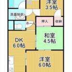 牛田東ハイツ 専有面積44.47㎡。3DKの間取りです。