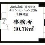 チサンマンション広島 専有面積30.78㎡。事務所です。