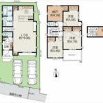 南区向洋大原町新築 建物面積94.56㎡。3LDK+納戸+小屋裏物置の間取りです。