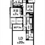 パークハイム牛田中 専有面積104.67㎡。3LDK+納戸の間取りです。(間取)