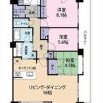 クラース広島 THE MARK 専有面積90.08㎡。3LDK+書斎の間取りです。