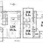 東区牛田東3丁目新築 建物面積108.06㎡。4LDK+WICの間取りです。