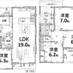 東区牛田東3丁目新築 建物面積118.95㎡。4LDK+WICの間取りです。