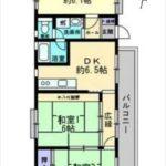 エメラルドマンション矢賀Ⅱ 専有面積57.57㎡。3DKの間取りです。