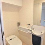 ハウスバーンフリート海田 トイレに鏡や上部収納棚も付いています!