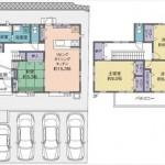 東区福田3丁目新築 建物面積108.05㎡。4LDKの間取りです。