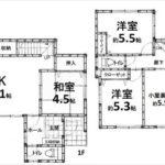 西条町西条新築 建物面積98.44㎡。4LDKの間取りです。