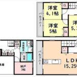南区宇品西2丁目新築 建物面積95.64㎡。3LDK+納戸の間取りです。