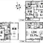 中区吉島新町1丁目新築 建物面積101.01㎡。3LDK+納戸の間取りです。(間取)