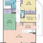 ライオンズマンション三本松 専有面積70.69㎡。2LDK+マルチルームの間取りです。
