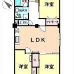 みゆきパークマンションB棟 専有面積73.68㎡。3LDKの間取りです。(間取)